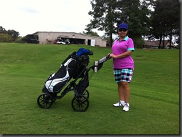 Peggy Duncan plays golf with CaddyTek