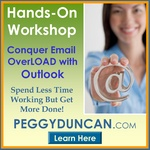 Peggy Duncan, Outlook expert trains people how to conquer email overload