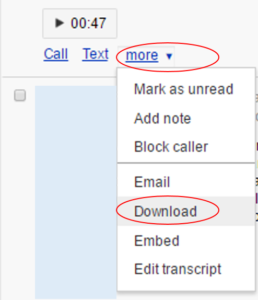 download Google Voice voicemail messages